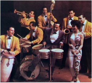 Puerto Rican singer Tito Rodriguez with his orchestra.