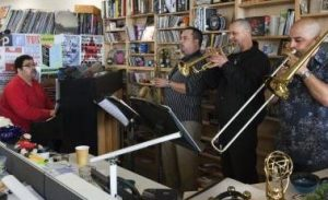 Arturo O'Farrill visited NPR's Tiny Desk Concert with 7 members of his Afro-Cuban Jazz band.