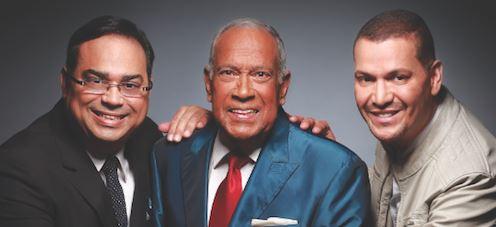 Salsa music stars Victor Manuelle, Cheo Feliciano, and Gilberto Santa Rosa photo.