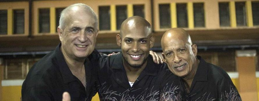 El Gran Combo singers Jerry Rivas, Anthony Garcia, and Papo Rosario
