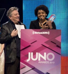 Jane Bunnett and Maqueque receiving a Juno Award in 2015.