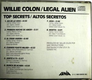 Willie Colon backcover of Legal Alien Salsa album