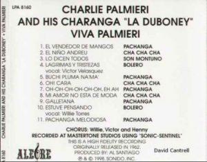 "Charlie Palmieri in Pachanga album ""Viva Palmieri"" backcover"